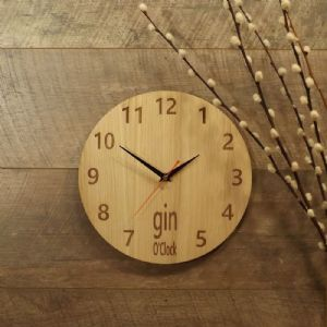 Gin O'Clock Wooden Wall Clock for Gin Lovers (B1)